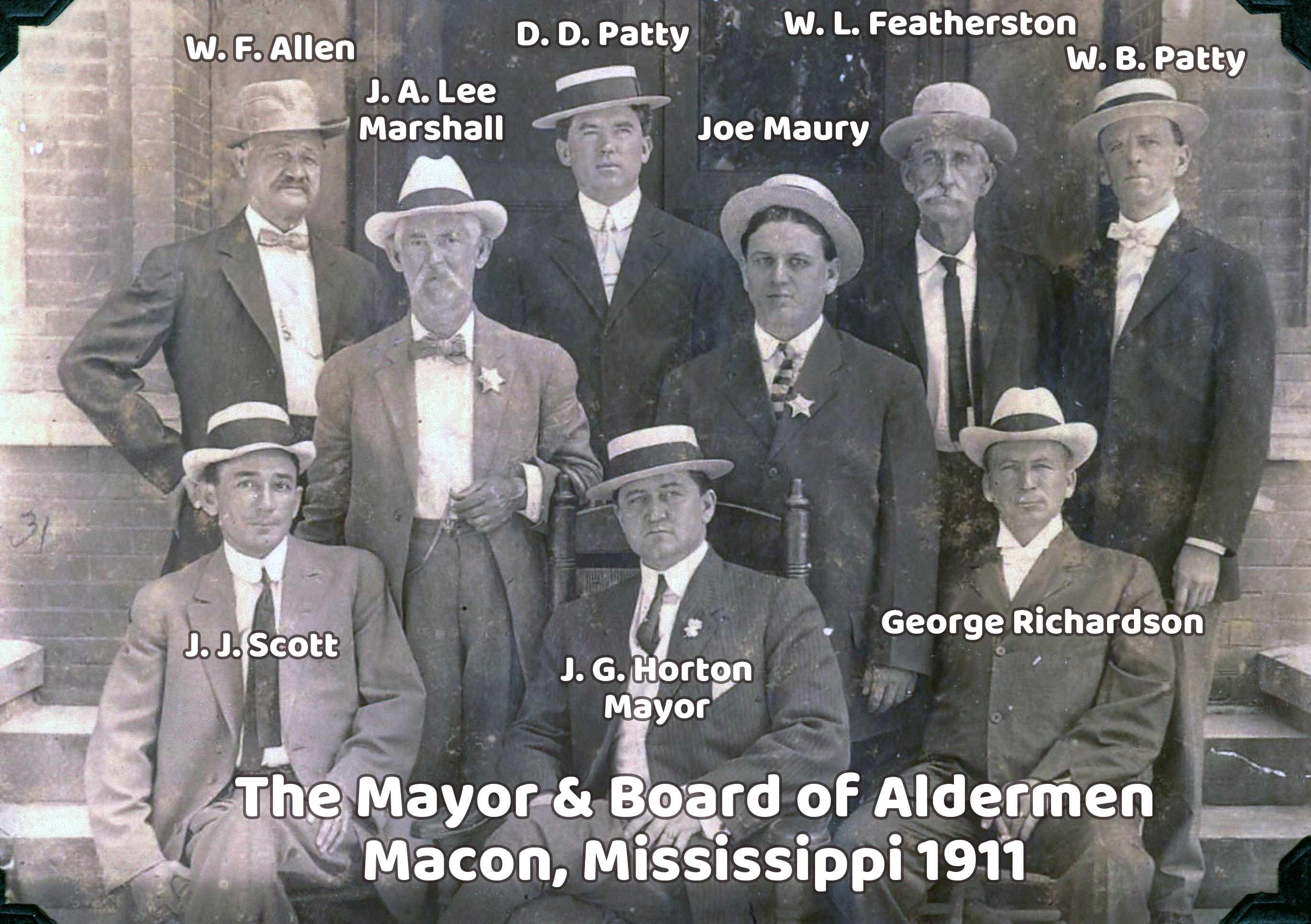 Macon, Mississippi 1911 Mayor and Board of Aldermen